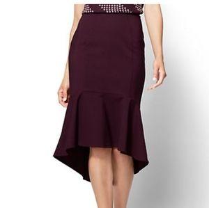 NWT NY&C 7th Avenue Ruffled Fit & Flare Skirt 000